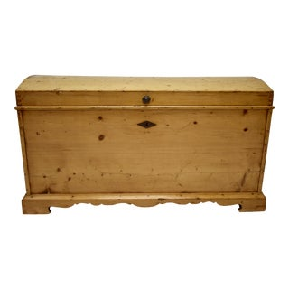 Large Pine Dome-Top Trunk or Blanket Chest For Sale