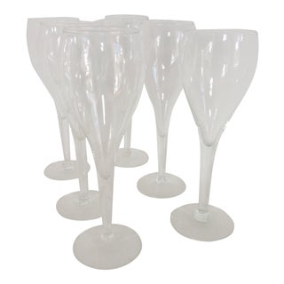 Vintage Hollow Stem Crystal Tulip Champagne Glasses - Set of 6