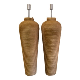 Massive Fusion Specialties Rope Wrapped Floor Lamps - a Pair For Sale