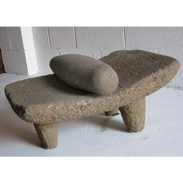 """Wonderful 19th c. """"piedra de moler"""" - grinding stone with beautiful patina. Was used to grind corn to make tamales and..."""