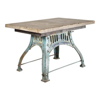 Industrial Blue Base Table For Sale