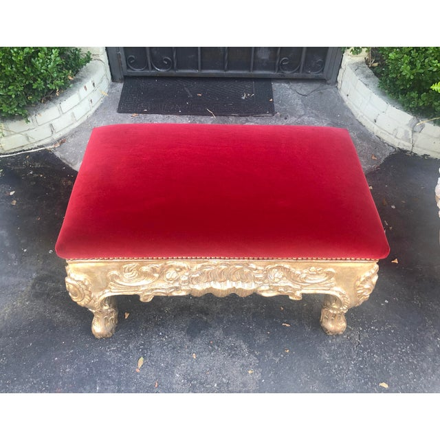 Charles Pollock 18th C Style Charles Pollock Royal Danish Ottoman Bench W Blood Red Velvet For Sale - Image 4 of 6