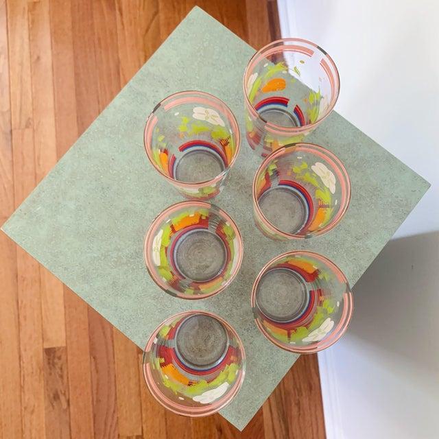 Vintage 1950s Floral Kitsch Drinking Glasses - Set of 6 For Sale In Nashville - Image 6 of 10