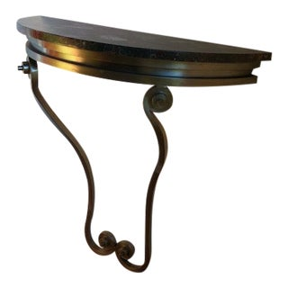 1920s Art Deco Steel and Marble Console Table For Sale