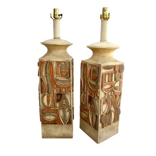 Mid Century Modern Large Scale Table Lamps - a Pair For Sale