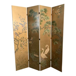 20th Century Hand Painted La Barge Four Panel Gold Room Screen For Sale