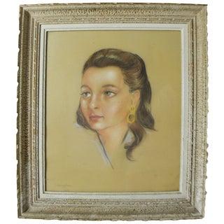 Vintage Framed French Woman Sketch by J.Sanglaz For Sale