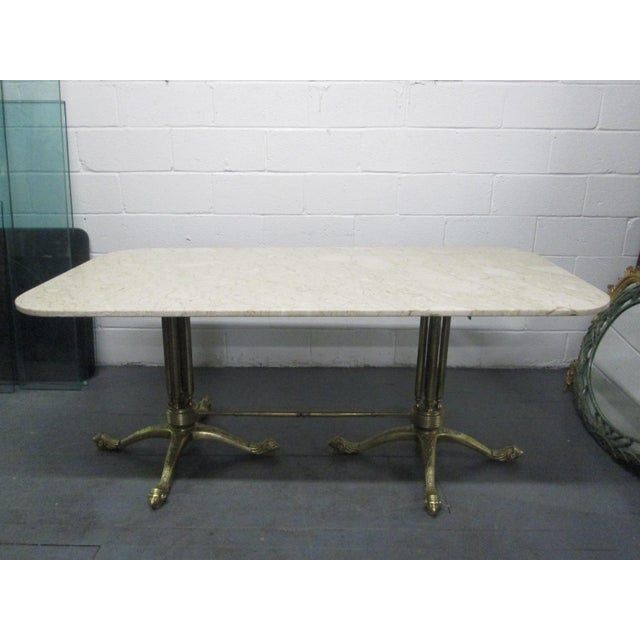 Brass and Marble-Top Dining Table For Sale - Image 11 of 11