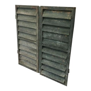 Antique French Painted Shutters - A Pair