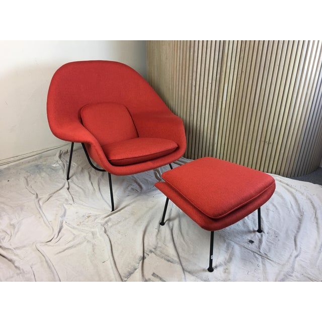 Early Eero Saarinen for Knoll Womb Chair and Ottoman. Cap on feet dates Chair to mid 50's before they changed to pivoting...
