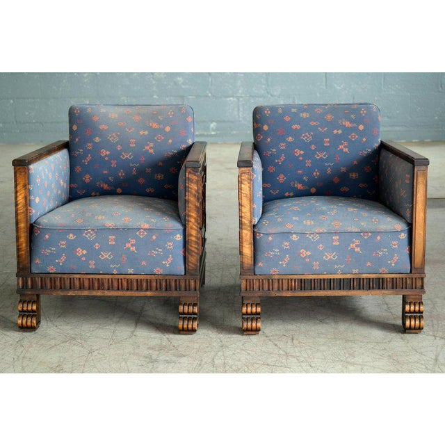 1930s Axel Einar Hjorth Flamed Birch Lounge or Club Chairs, Sweden, 1930s - a Pair For Sale - Image 5 of 13