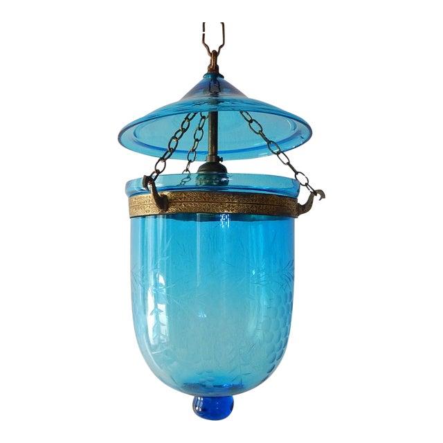 19th Century Cobalt Blue English Bell Jar Lantern Chandelier For Sale