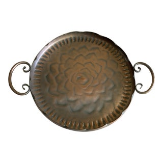 Vintage Scalloped Copper Tray For Sale