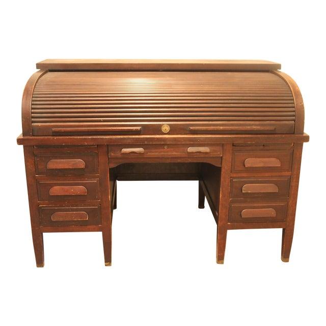 Mahogany American Rishel Antique Roll Top Desk - Mahogany American Rishel Antique Roll Top Desk Chairish