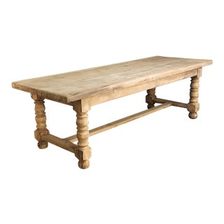 Antique Stripped Oak Rustic Farm Table For Sale