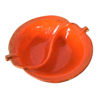 Mid-Century Orange Leaf Divided Bowl For Sale