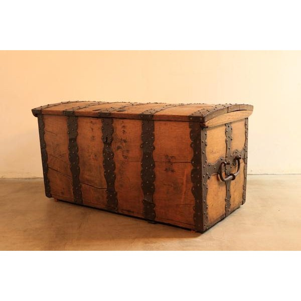 Chest wrought iron, oak decorated with rich wrought iron fittings.