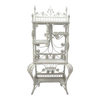 Peacock Rattan Etagere For Sale