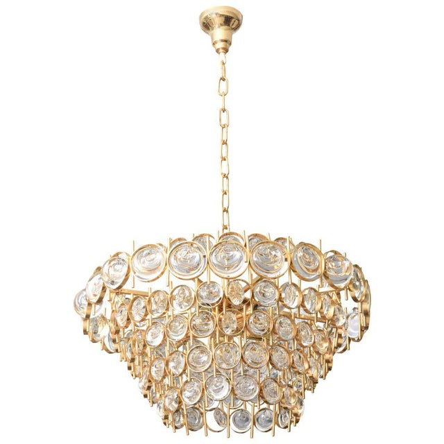 Gold Plate and Crystal Chandelier by Palwa For Sale - Image 11 of 12