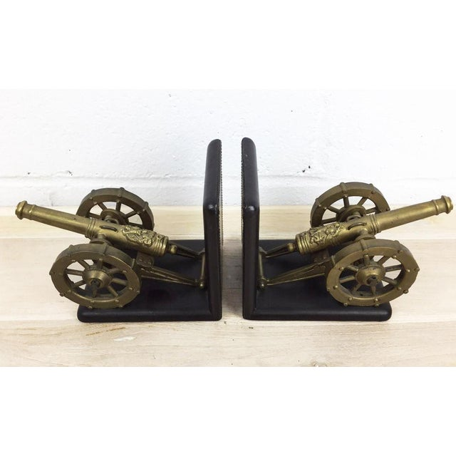 Antique Artillery French Leather & Bronze Bookends - A Pair - Image 4 of 11