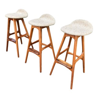 3 Erik Buch Danish Teak Bar Stools For Sale