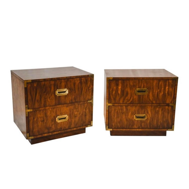 1960s Campaign Storage End Tables - a Pair For Sale - Image 4 of 4