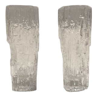 Pair of Tapio Wirkkala for Iittala Ice Glass Vases For Sale