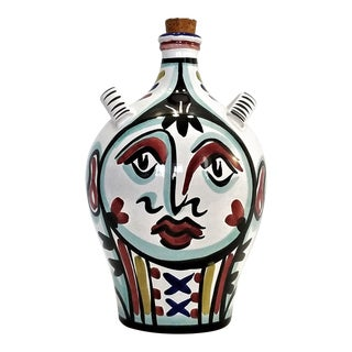 Contemporary Large Picasso Style Ceramic Face Jug - Starbuck's Amphora Design -Made in Sberna, Deruta, Italy For Sale