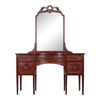 Early Widdicomb Hepplewhite Style Inlaid Mahogany Vanity Dresser With Mirror For Sale