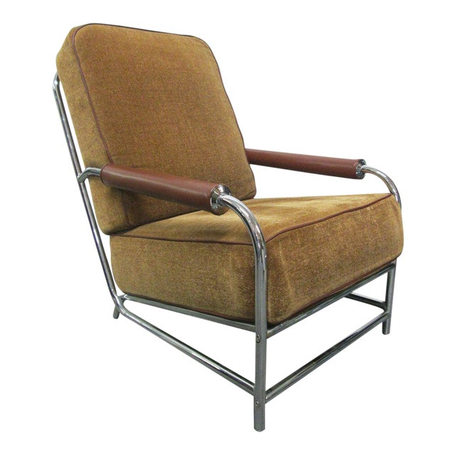 Streamline Chrome Lounge Chair For Sale