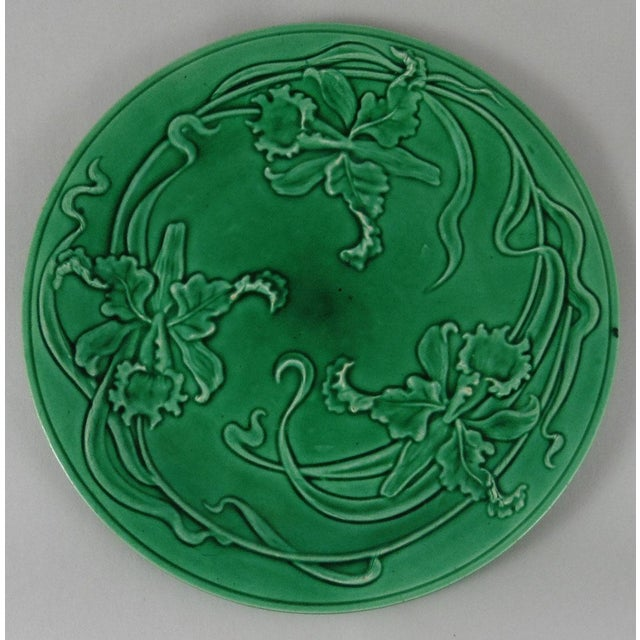19th-C. Green Majolica Orchid Plate - Image 2 of 3