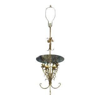Mid Century Modern Gold Gild Metal Leaf Table Floor Lamp For Sale