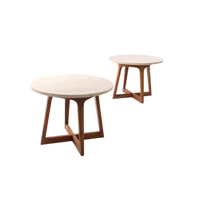 1960s Danish Modern Marble and Walnut End Tables - a Pair For Sale