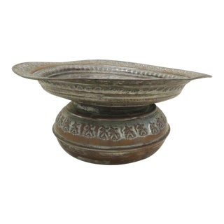 Antique Moroccan Hand Hammered Copper Round Vessel For Sale