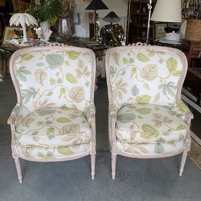Upholstered Bergere Chairs - a Pair For Sale - Image 10 of 10