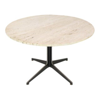 1970s Vintage Travertine Top Fabricated Aluminium X-Base Cafe Dining Table For Sale