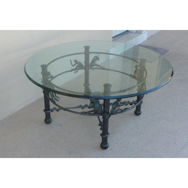 Late 20th Century Vintage Wrought Iron Monkeys Coffee Table For Sale - Image 5 of 10