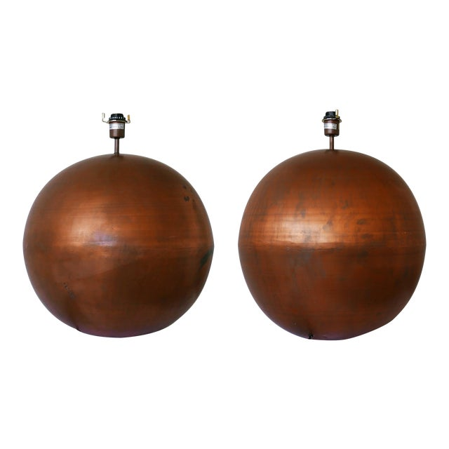 Monumental Copper Ball Lamps - a Pair For Sale