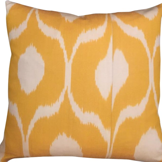Hand Dyed Yellow Ikat Pillows - A Pair For Sale
