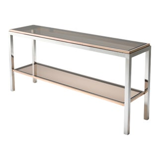 Willy Rizzo Two-Tier Chrome and Brass Linea Flaminia Console Table For Sale