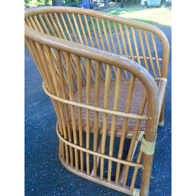 Vintage Rattan Barrel Chair - Image 5 of 11