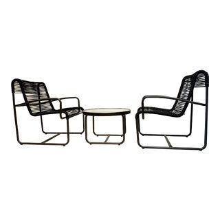 1960's Mid Century Modern Black Patio Furniture by Brown Jordan-Set of 3 For Sale