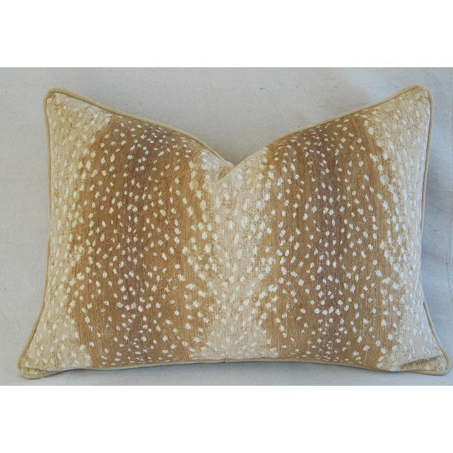 Custom-tailored pillow in a vintage/never used ultra-soft velvet-chenille cotton blended fabric depicting a deer fawn...