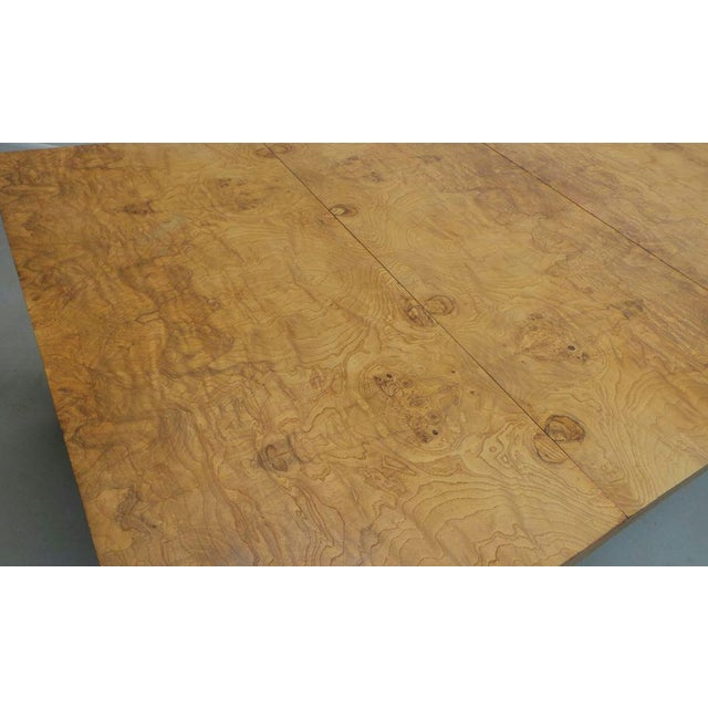 Mid Century Modern Milo Baughman Thayer Coggin Olive Burlwood Parsons Dining Table With 2 Leafs For Sale In Orlando - Image 6 of 11