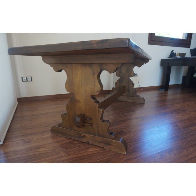 Spanish Rustic Dining Room Table with Lyre Leg For Sale - Image 4 of 10