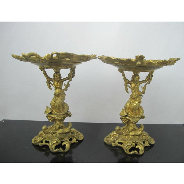 Antique 19th C. French Gilt Ormolu Bronze Neptune Poseidon Candle Card Holders - a Pair For Sale - Image 13 of 13