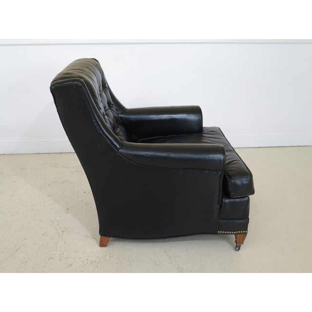 1970s Sherrill Black Leather Club Chair & Ottoman For Sale - Image 5 of 13