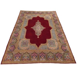 VIntage Distressed Persian Carpet in Scarlet and Pinks | 9'1 X 12'8 For Sale