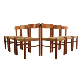 1980s Vintage Danish Cord Teak Dining Chairs- Set of 6 For Sale