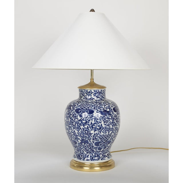 Chinese 19th Century Chinese Blue & White Porcelain Vase now a Lamp For Sale - Image 3 of 11